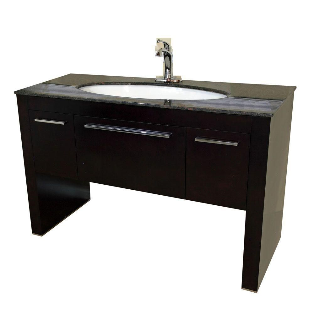 Taranto Brown Meuble-lavabo noyer foncé de 56 po avec comptoir en marbre tan brown