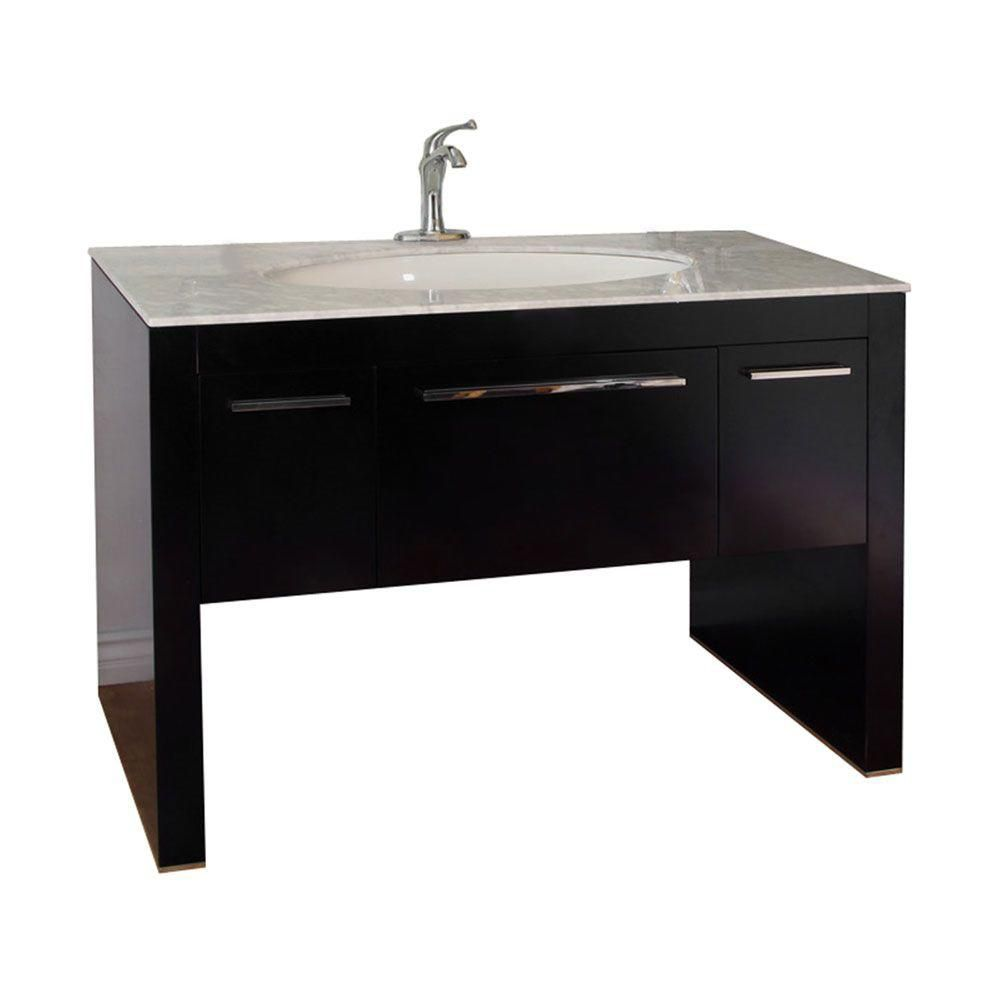 Derry 56-inch W Vanity in Dark Walnut with Marble Vanity Top in White