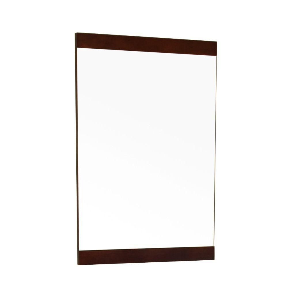 Aurora 32 In. L X 20 In. W Solid Wood Frame Wall Mirror in Dark Walnut