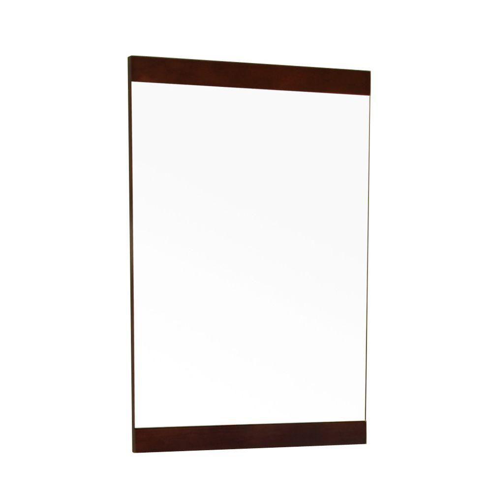 Bellaterra Aurora 32-inch x 20-inch Solid Wood Frame Wall Mirror in Dark Walnut with Mounting Hardware