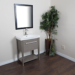 Bellaterra 27.50-inch W 1-Drawer Wall Mounted Vanity in Grey With Ceramic Top in White