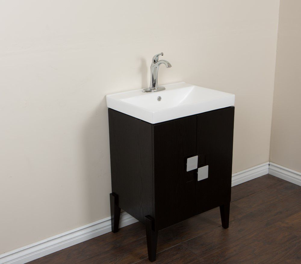 Bellaterra 25-inch W 2-Door Freestanding Vanity in Black With Ceramic Top in White