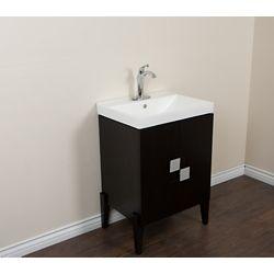 Bellaterra 25-inch W 2-Door Freestanding Vanity in Black With Ceramic Top in White