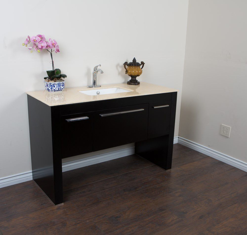 55.3-inch W Vanity in Black Finish with Marble Top in Cream