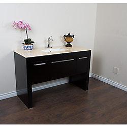 Bellaterra 55.30-inch W 1-Drawer 2-Door Freestanding Vanity in Black With Marble Top in Beige Tan
