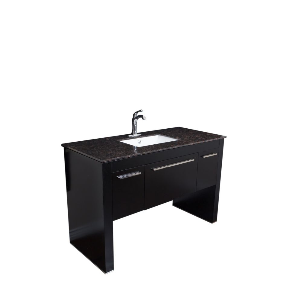 bellaterra meuble lavabo noir de 55 3 po avec comptoir en marbre tan brown home depot canada. Black Bedroom Furniture Sets. Home Design Ideas