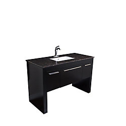 Bellaterra 55.30-inch W 1-Drawer 2-Door Freestanding Vanity in Black With Marble Top in Brown
