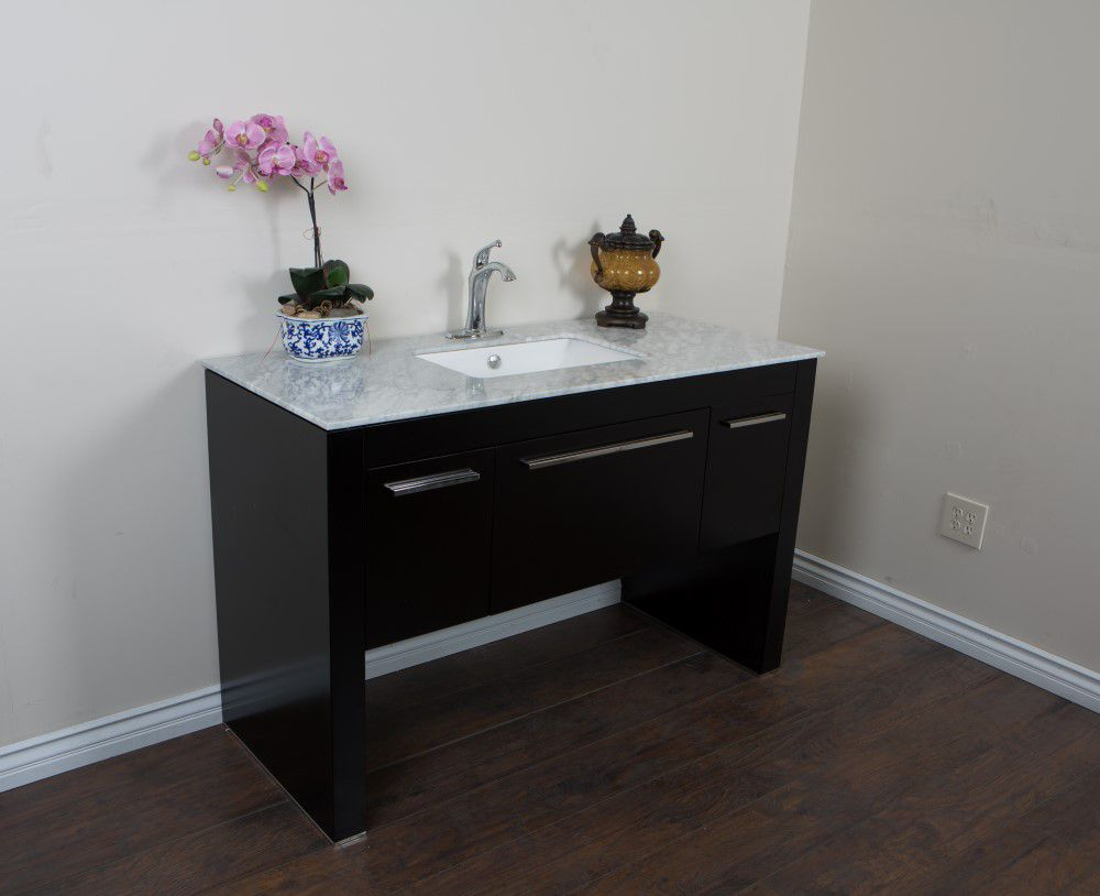 55.3-inch W Vanity in Black Finish with Marble Top in White