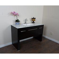 Bellaterra 55.30-inch W 1-Drawer 2-Door Freestanding Vanity in Black With Marble Top in White