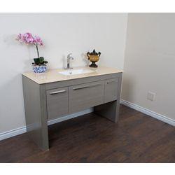 Bellaterra 55.30-inch W 1-Drawer 2-Door Freestanding Vanity in Grey With Marble Top in Beige Tan