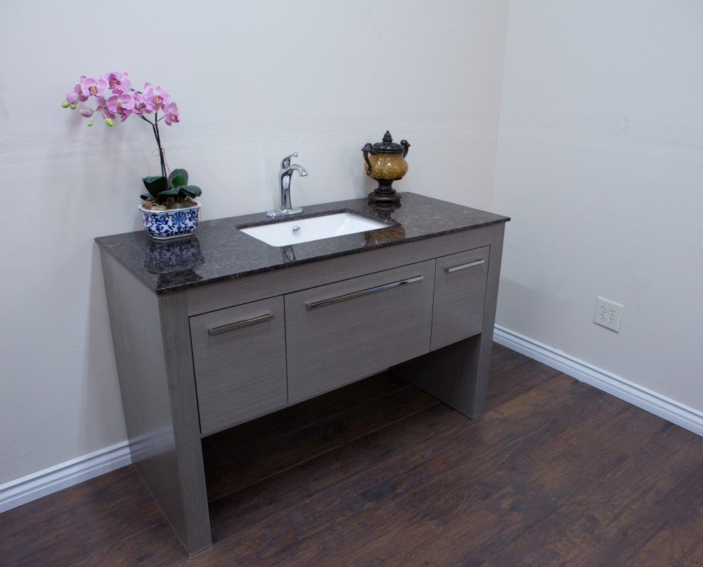 55.3-inch W Vanity in Taupe Finish with Marble Top in Tan Brown