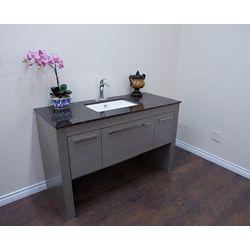 Bellaterra 55.30-inch W 1-Drawer 2-Door Freestanding Vanity in Grey With Marble Top in Brown