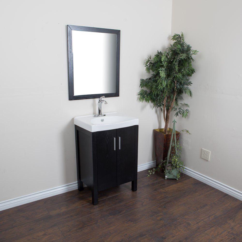 bellaterra meuble lavabo noir de 23 8 po avec comptoir en c ramique blanche home depot canada. Black Bedroom Furniture Sets. Home Design Ideas