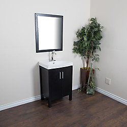 Bellaterra 24-inch W 2-Door Freestanding Vanity in Black With Ceramic Top in White