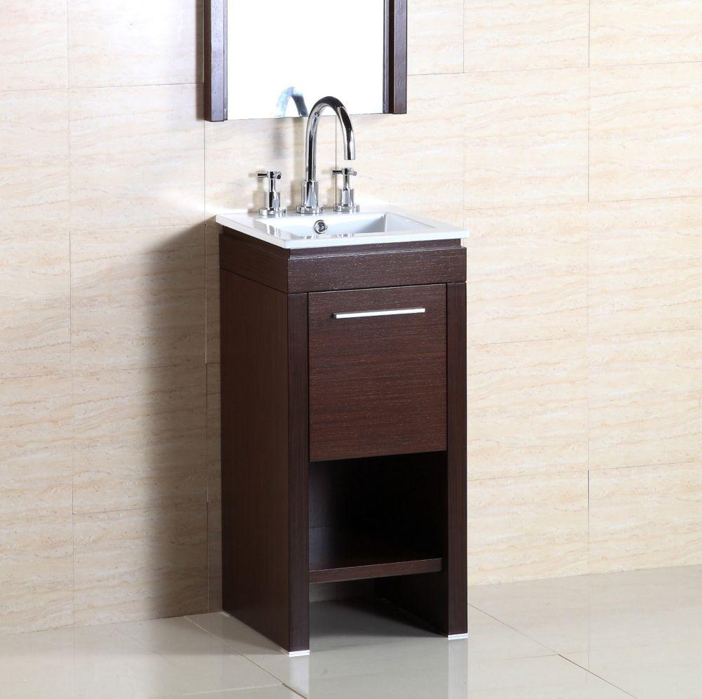Bellaterra 15.70-inch W 1-Door Freestanding Vanity in Brown With Ceramic Top in Silver