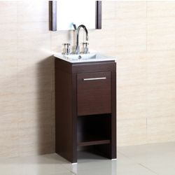 Bellaterra 15.70-inch W 1-Door Freestanding Vanity in Brown With Ceramic Top in Silver