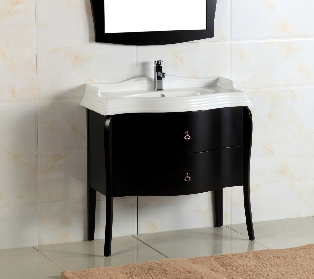 36-inch W Vanity in Black Ashtree Finish with Porcelain Sink