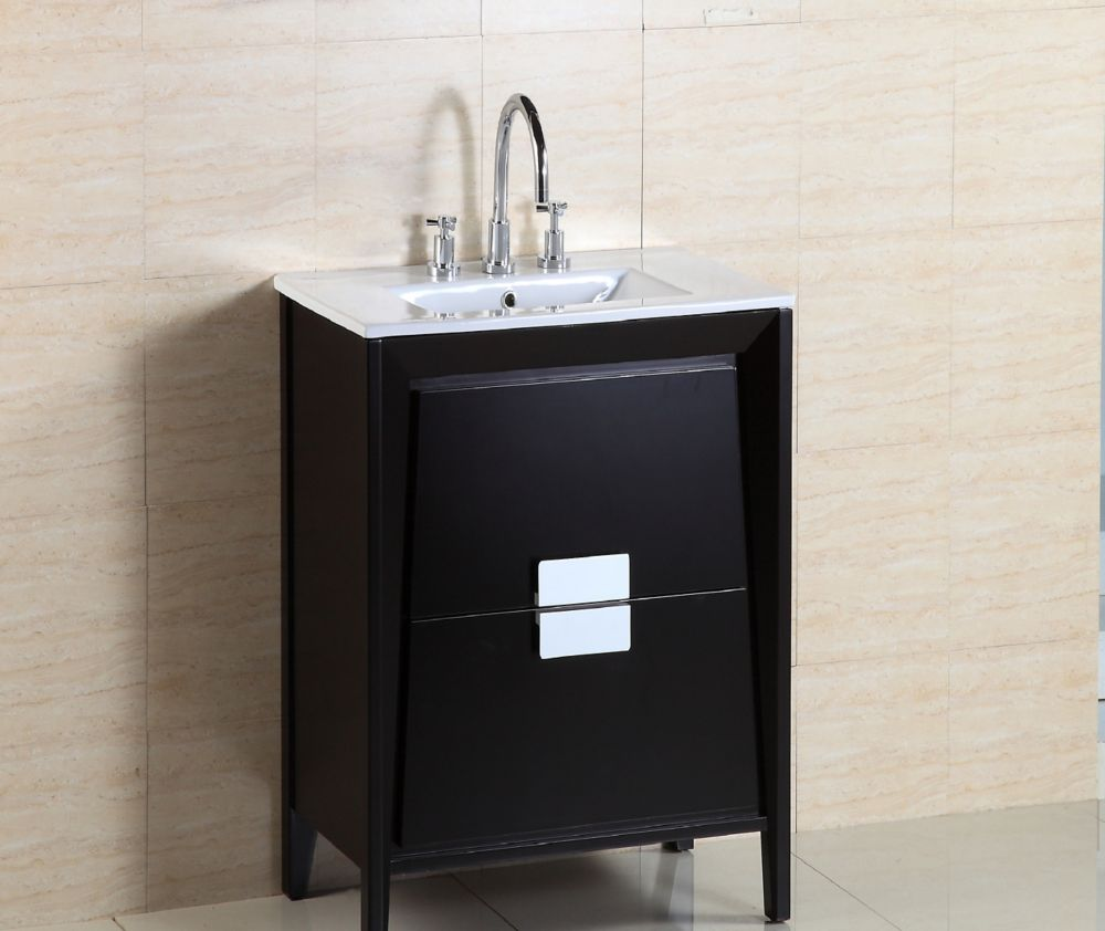 centra 80 in double vanity in white with solid surfacetop with black