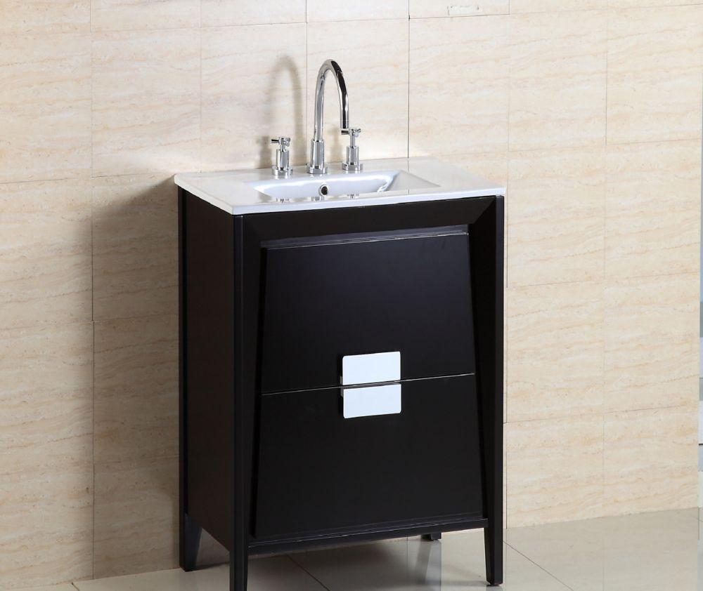 24-inch W Vanity in Espresso Finish with Ceramic Sink