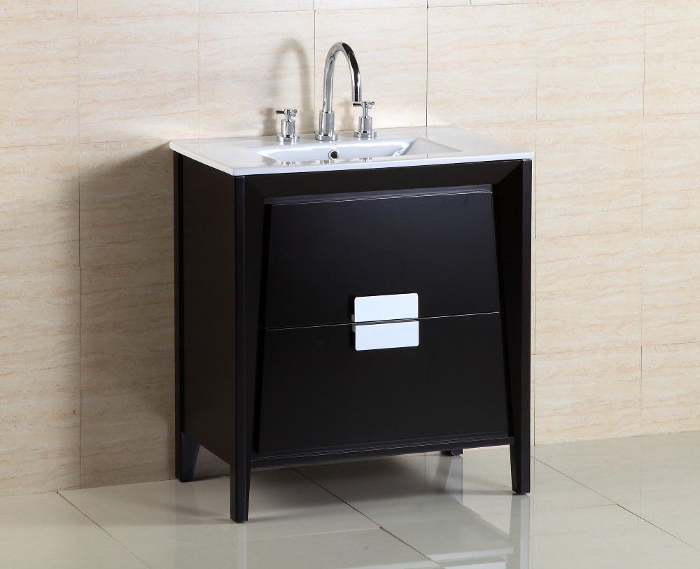 30-inch W Vanity in Black Ashtree Finish with Ceramic Sink