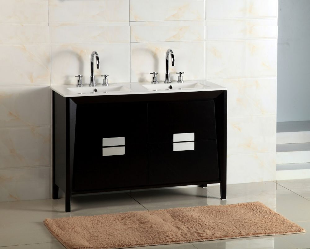 Bellaterra 48 Inch W Double Vanity In Espresso Finish With Ceramic Basins The Home Depot Canada