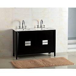 Bellaterra 48-inch W 4-Drawer Freestanding Vanity in Black With Ceramic Top in White, Double Basins