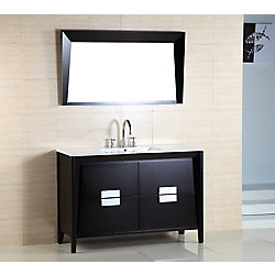 Bellaterra 48-inch W 4-Drawer Freestanding Vanity in Black With Ceramic Top in White