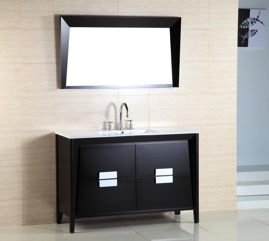 48-inch W Vanity in Black Ashtree Finish with Ceramic Basin