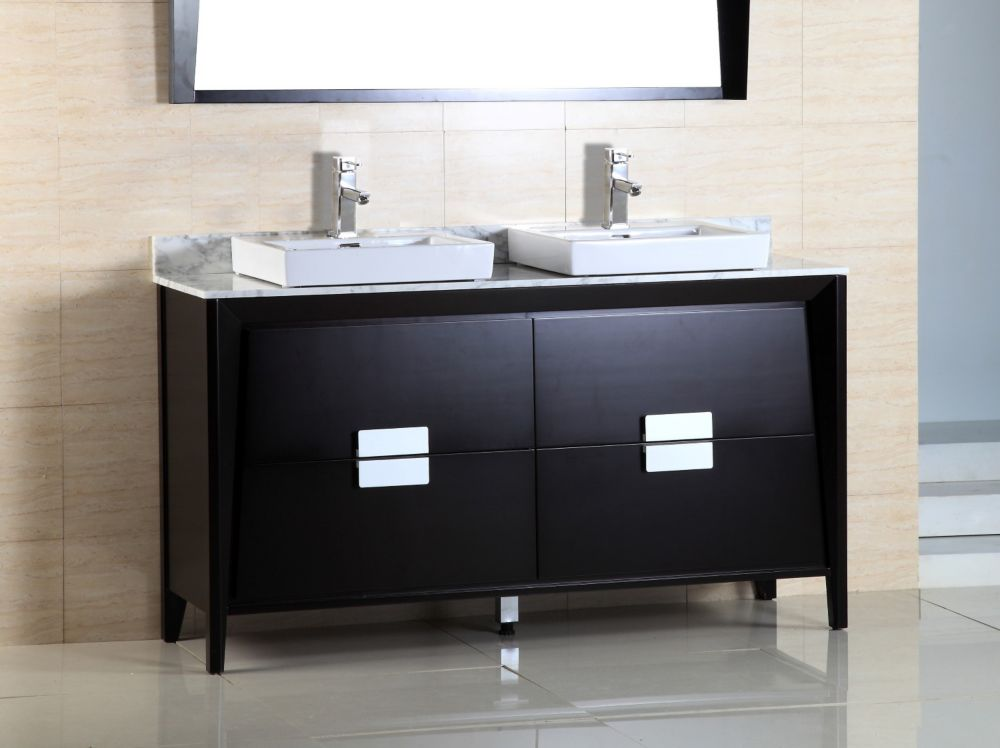 60-inch W Double Vanity in Black Ashtree Finish with Marble Top in Carrara White