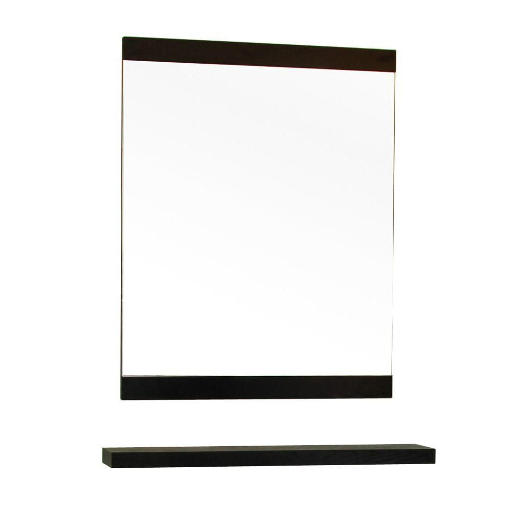 Windsor 32 In. L X 24 In. W Solid Wood Frame Wall Mirror in Black