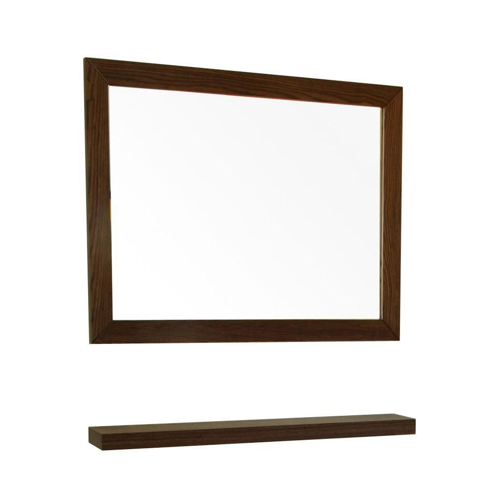 Bellaterra Norwoodville 24 In. L X 32 In. W Wall Mirror in Dark Walnut