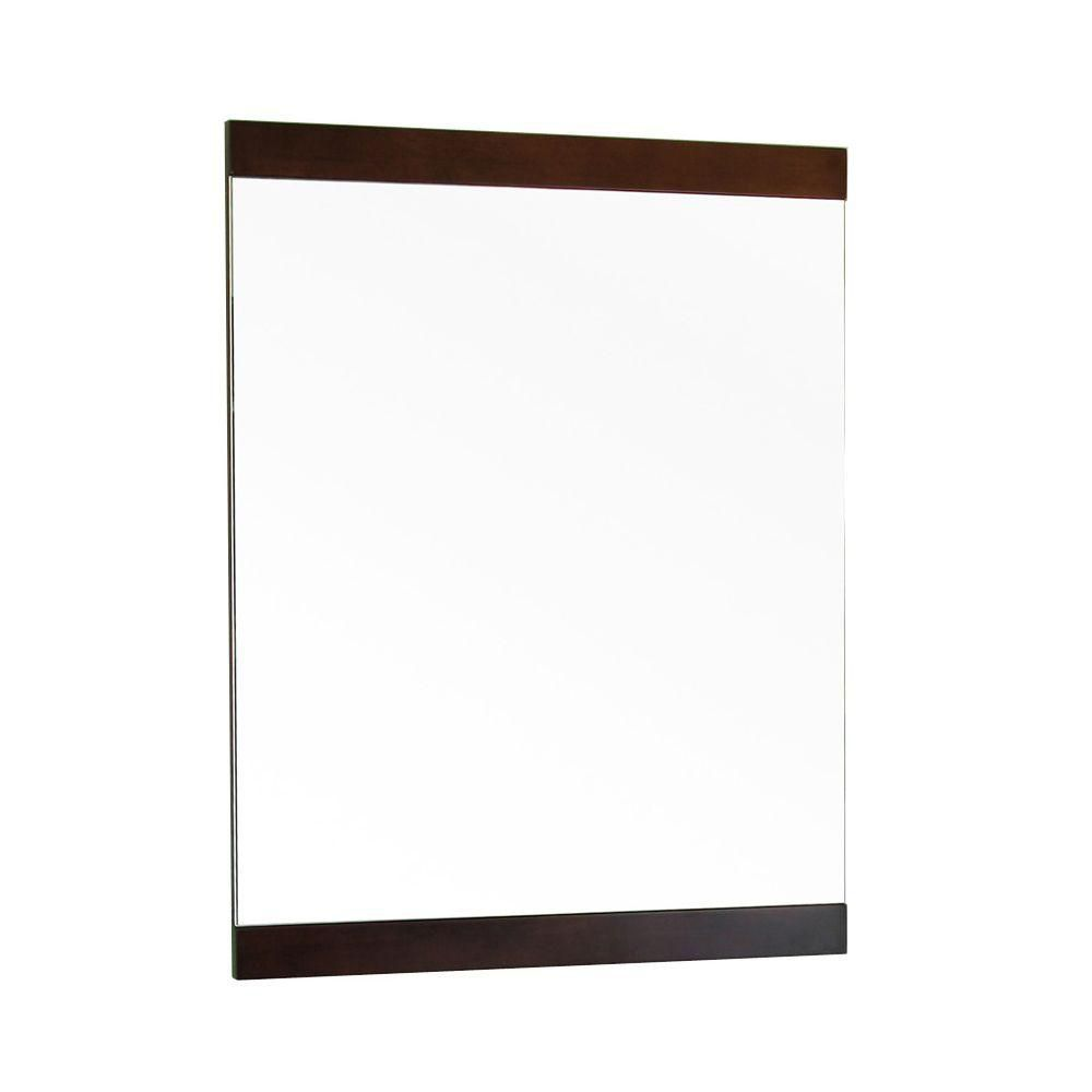 Bellaterra Saylor 32 In. L X 24 In. W Solid Wood Frame Wall Mirror in Walnut