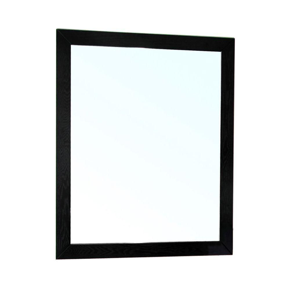 Lovington 32 In. L X 26 In. W Solid Wood Frame Wall Mirror in Black