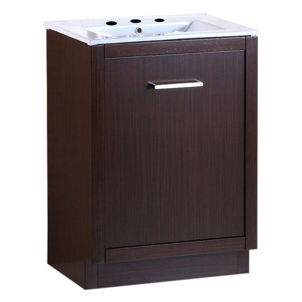 Bellaterra 24-inch W 1-Drawer Freestanding Vanity in Brown With Ceramic Top in White
