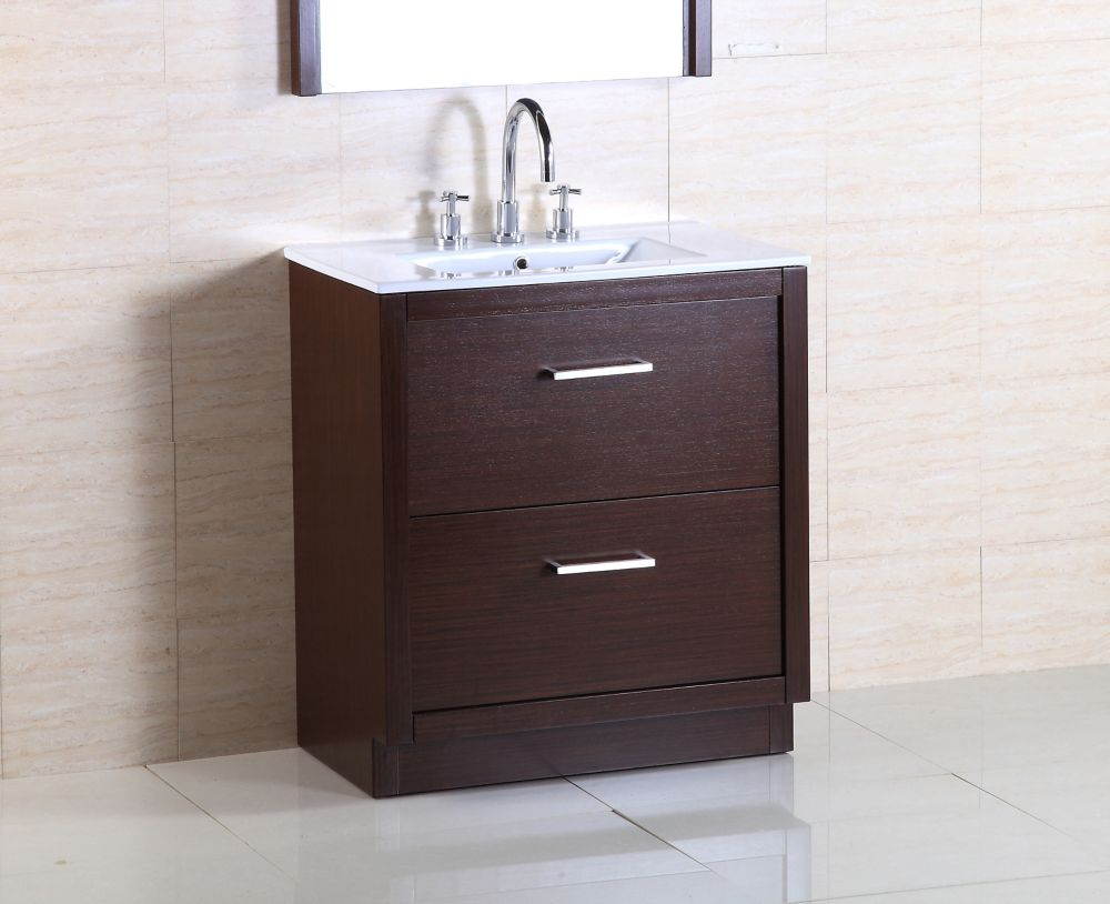 Bellaterra 30-inch W 2-Drawer Freestanding Vanity in Brown With Ceramic Top in White