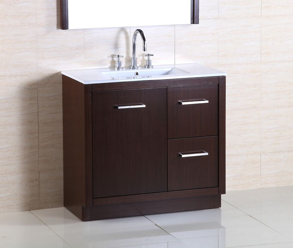 Bellaterra 36-inch W 2-Drawer 1-Door Freestanding Vanity in Brown With Ceramic Top in White