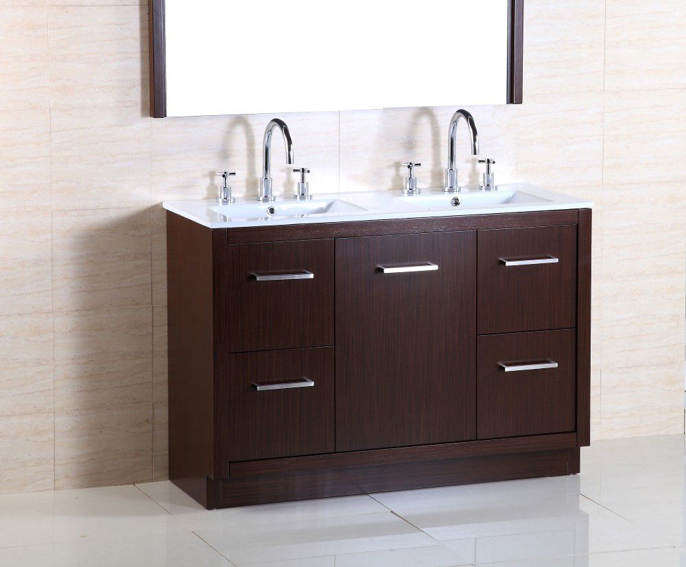 48-inch W Double Sink Vanity with Integrated Ceramic Basin