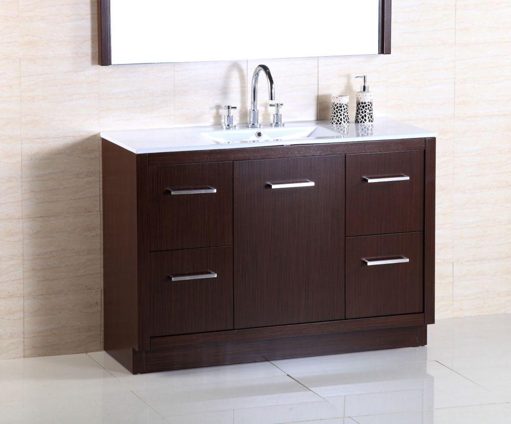 48-inch W Vanity in Wenge Finish with Ceramic Basin