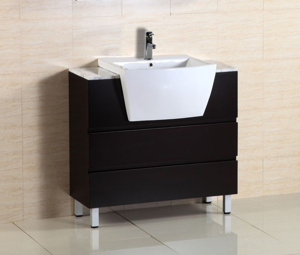 36-inch W Vanity in Espresso with Ceramic Top in White