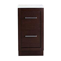 Bellaterra 36-inch W 3-Drawer Freestanding Vanity in Brown With Engineered Stone Top in Beige Tan