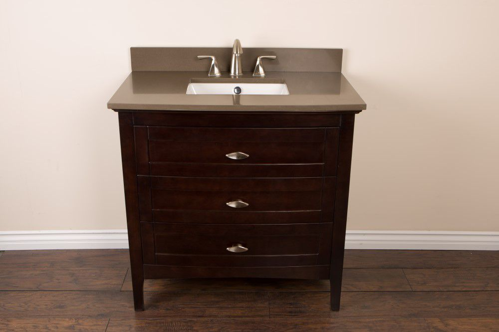36-inch W Vanity in Sable Walnut Finish with Quartz Top in Taupe
