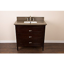 Bellaterra 36-inch W 3-Drawer Freestanding Vanity in Brown With Engineered Stone Top in Grey