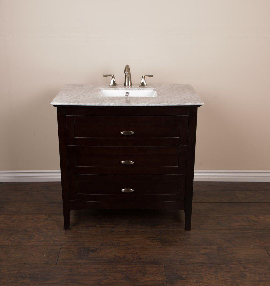 Meuble-lavabo noyer et sable de 36 po avec comptoir en marbre blanc