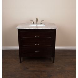 Bellaterra 36-inch W 3-Drawer Freestanding Vanity in Brown With Engineered Stone Top in White
