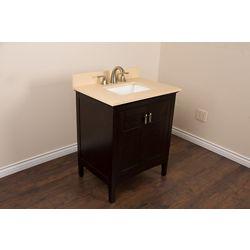 Bellaterra 30-inch W 1-Door Freestanding Vanity in Brown With Engineered Stone Top in Beige Tan