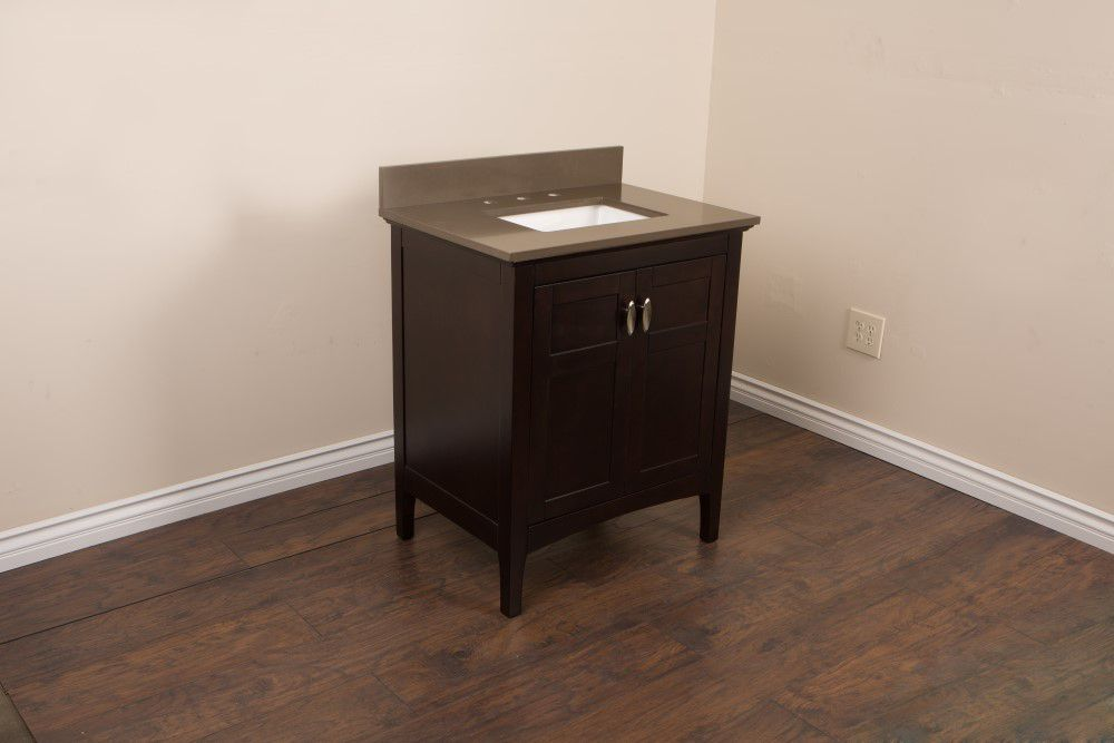30-inch W Vanity in Sable Walnut Finish with Quartz Top in Taupe