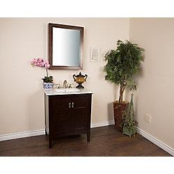 Bellaterra 30-inch W 1-Door Freestanding Vanity in Brown With Engineered Stone Top in White