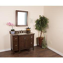 Bellaterra 45-inch W 4-Drawer 2-Door Freestanding Vanity in Brown With Engineered Stone Top in Brown