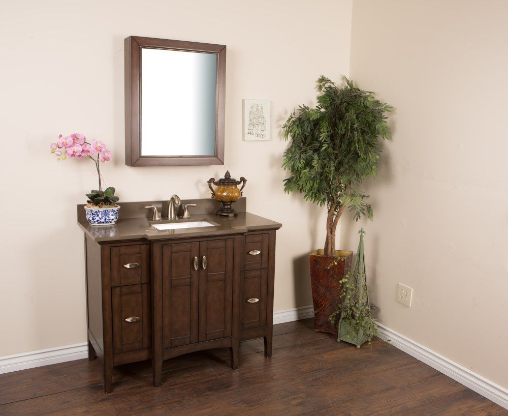 45-inch W Vanity in Sable Walnut Finish with Quartz Top in Taupe