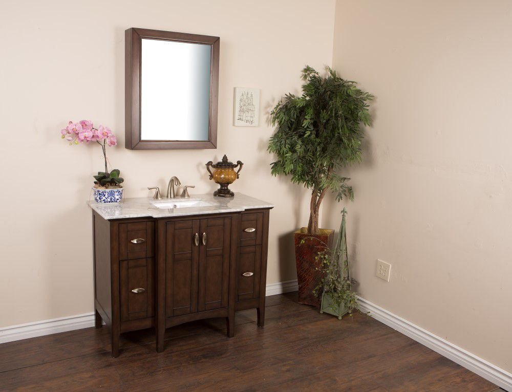 45-inch W Vanity in Sable Walnut Finish with Marble Top in White
